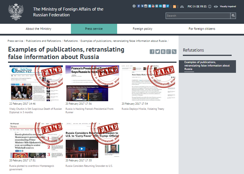 RUSSIA FAKE DEBUNKERS MINISTRY OF FOREIGN AFFAIRS